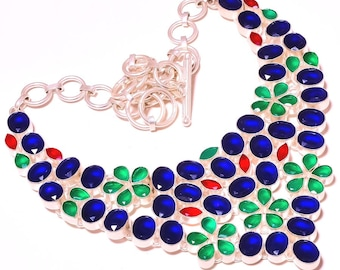 Emerald Ruby Sapphire Silver Plated Choker Necklace Fashion Jewelry