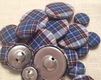 Set di 6 bottoni rivestiti in stoffa scozzese tonalità del blu