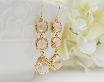 Peach Champagne / Blush Wedding Earrings / Champagne Bridesmaid Earrings / Gold Earrings / Bridesmaid Gift / Peach Dangle Earrings / Gift