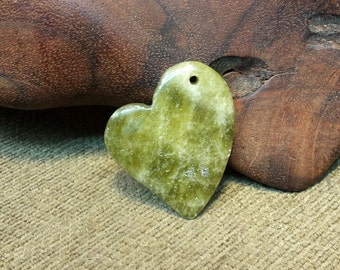 Natural Green Chalcedony Dangle Heart