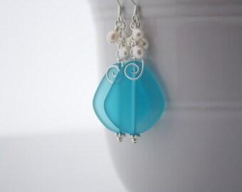 Blue Sea Glass Earrings Seaglass Earrings Sea Glass Jewelry Wedding Earrings Bridal Earrings Bridesmaid Beach Jewelry Seaglass Jewelry 092