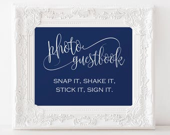 Photo Wedding Guest Book Sign - Wedding Sign - Wedding Photo Guestbook - Navy Wedding - Downloadable wedding #WDH878PL78