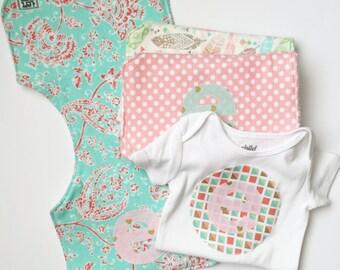 Items similar to personalized burp cloths girl monogrammed onesie baby girl gift set monogram onesie personalized burp cloths burp clothes personalized negle Gallery