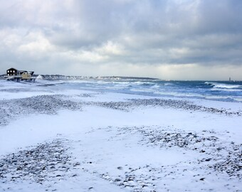 Winter scene, snowy beach, Scituate, MA, Minot Light, seascape, beach photos, cottage decor, coastal, New England, archival, signed print