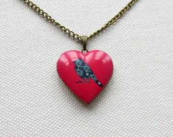 Red Heart Shape Locket Bird Jewelry Floral Print Whimsical Kitsch Brass Locket Gift for HerAltered Art Necklace
