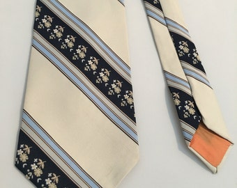 Vintage 1970s Floral and Striped Tie, Mens S.Weiss Necktie