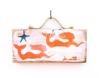 Personalize This Original Art Item-Mermaid Art Handmade on Reclaimed Wood Mermaid  Beach Kids Room Sea Mermaid Wall Art Mangoseed