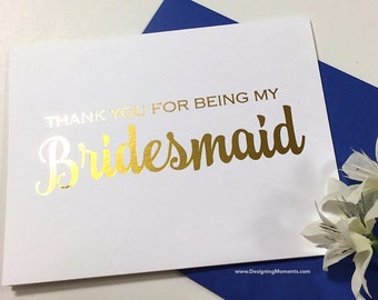 Bridesmaid Thank You Card, Gold Foil Bridal Party Bridesmaid Card, Wedding Thank You Card, Thank You Bridesmaid, Bridesmaid DM145
