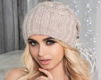 Grey Wool double layer hat, winter wool warm hat.