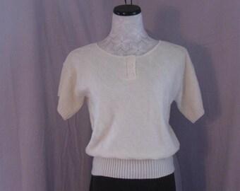 Vintage Short Sleeve Sweater Spring Sweater Ladies Sweater,Vintage Off White Sweater