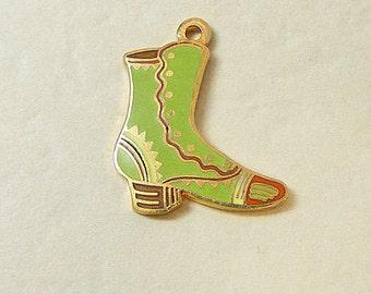 Vintage Aviva Charm Green Boot  Enamel Cloisonne  23-1