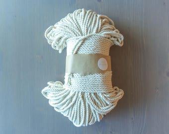 Cordon en macramé torsadé, macramé en corde, cordon en coton naturel 5mm, ficelle blanche, torsadé cordon, fournitures de bricolage en macramé, décoration murale, hangar de l'usine
