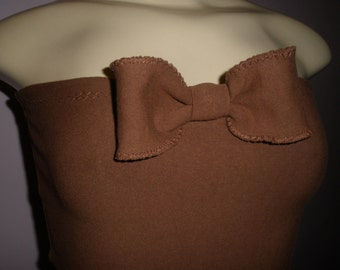 Adorable Brown Handcrafted Halter Top with Cute Bow on Front Fits Size: Small/Mediun/Large