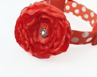 Orange Polka Dot Dog Collar and Orange Flower Set, Adjustable Sizes for Small, Medium, Large,  to Extra Large Dogs Handmade