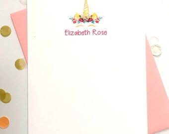 Personalized Unicorn Cards - Custom Stationery - Stationary for Girls - Unicorn Head and Flowers Cards - Personalized Cards DM772