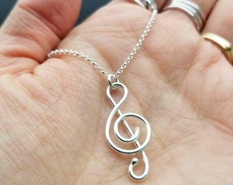 Sterling Music Note Necklace / Treble Clef