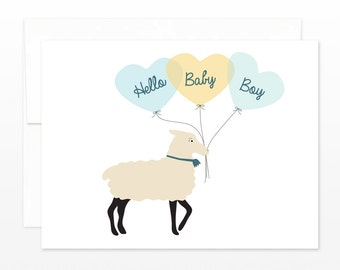 SALE! Baby Boy Card, New Baby Greeting Card, Cute Lamb Balloon Card, Baby Shower Card, New Parents Card, Boy Baby Card, Birth Announcement