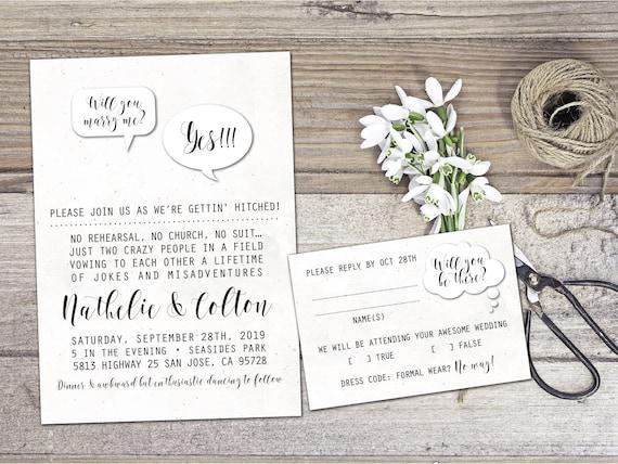 Wedding invitation non formal wedding invitation funny stopboris Choice Image