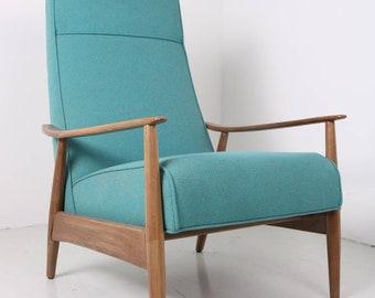 Highback Mid Century Modern arm chair- Milo Baughman inspired