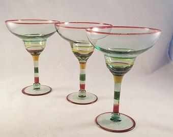 Green Tinted Margarita Glasses