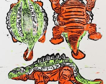 Ankylosaurus Stencil, Woodcut, Hand Printed, Limited Edition, Printmaking Original