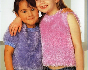 childrens knitting pattern pdf girls furry sweaters furry jumpers furry tops 20-30inch eyelash yarn Instant Download