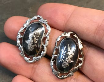 Vintage sterling silver clip on earrings, 925 Thailand silver earrings,  niello silver, Siam