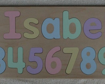 Name Puzzle - Raised Letters - with Numbers - Wonderful Birthday Gift - Kids Wood Puzzle Toy - Baby Birthday -  Mixed Case Letters