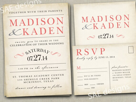 Wedding Invitations With Rsvp Postcards: Items Similar To Wedding Invitation Invitations Invite