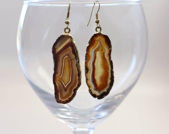 Brown Agate Slice Earrings, Agate Earrings, Gold Agate Earrings, Boho Jewelry, Stone Earrings, Black Earrings, ASE111
