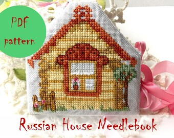 Needle book 'Russian House' PDF Pattern / Cross Stitch Pattern / Instant Download PDF Pattern / Russian Art / Folk Art