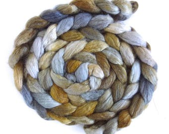 BFL/Silk Roving - Handpainted Spinning or Felting Fiber, Humble Reflections