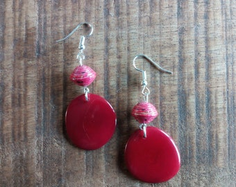 1409 - earrings red tagua or vegetable ivory, and handcrafted paper beads