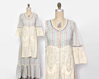 Vintage 70s GUNNE SAX Dress / 1970s Pastel Floral Crochet Lace Apron Bohemian Dress XS