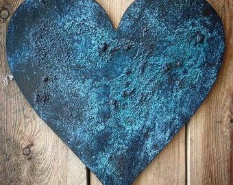 "12"" Rustic Heart-Home Decor-Wall Art-Patina Wall Art-Rustic Decor"
