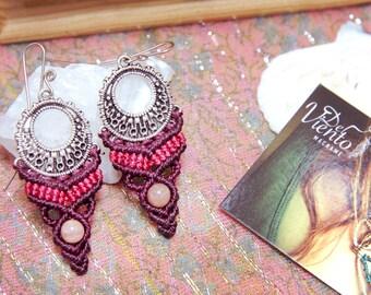 Macrame EARRINGSS with Sunstone/Bohemian jewelry/macrame Earrings/Boho