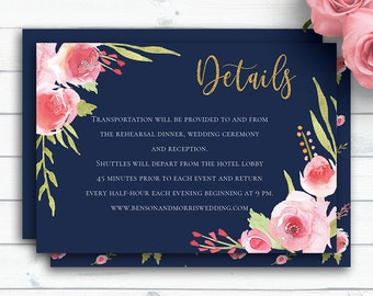 Navy Wedding Detail Card Template, Personalized Wedding, Floral Wedding Card, Wedding Info Card, Wedding Insert Cards, Gold Wedding Details