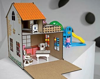 Dollhouse with furniture, Wooden doll house miniature with furniture, Wooden dollhouse, Montessori dollhouse, Waldorf dollhouse, Wooden Toys
