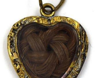 Antique Victorian Braided Hair Memorial Mourning Pendant 1800's