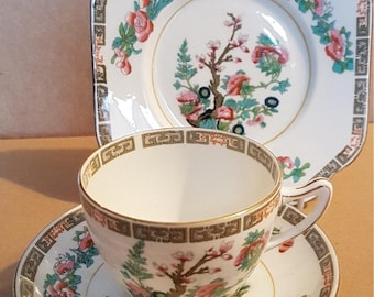 Colclough Indian Tree trio - cup, saucer and side plate. Vintage from 1930's