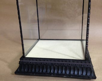 Square 5 sided glass display case. black wood base. 4 readymade sizes avaliable. Custom sizes welcome.