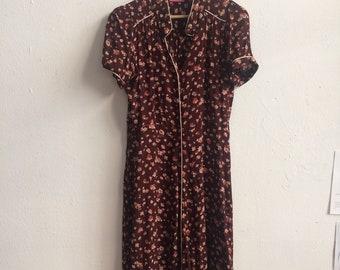 vintage floral dress in burgundy size 12