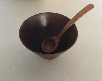 Mid century 60s/70s teak Bowl with spoon