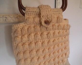 Vintage Cream Crochet Button Purse with Bakelite Handles ~ Handbag