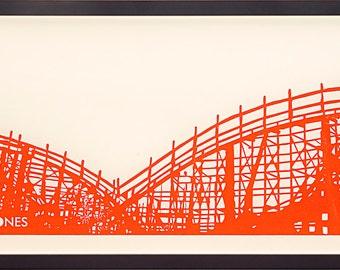 """Signed limited edition Framed Orange Blockprint of Roller Coaster 10x26"""" On paper"""