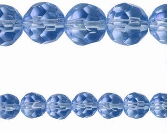 10 x Round 8mm blue faceted glass beads