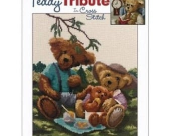 Teddy Tribute Bear Counted Cross Stitch Chart Pattern