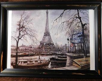"""Eiffel tower print vintage Paris  - Brunet 5"""" x 7"""""""