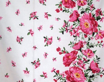REMNANT--Beautiful Pink on White Cabbage Rose Border Print Pure Cotton Fabric--21 INCHES