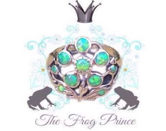 The Frog Prince Green Opal Sterling Silver Flower Size 7 Ring